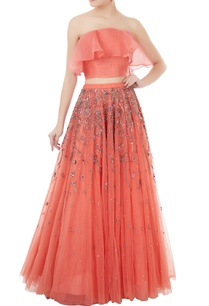 peach-organza-net-hand-crafted-stone-bead-sequin-nakshi-work-lehenga-with-blouse