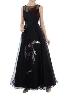 black-organza-tafetta-hand-crafter-bead-seqin-nakshi-work-evening-princess-gown