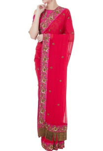 fucshia-pink-red-georgette-tafetta-hand-crafted-zardozi-bead-work-tassels-saree-with-cold-shoulder-blouse