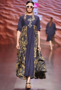 gold-navy-blue-embroidered-maxi-dress