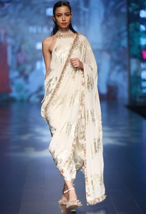 ivory-crepe-palm-print-dhoti-sari-with-halter-neck-blouse