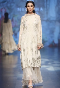 ivory-chiffon-palm-leaf-asymmetric-tunic-with-pleated-skirt