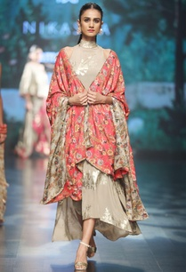 grey-crepe-printed-asymmetric-dress-with-red-cape