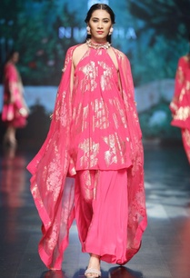 magenta-crepe-organza-pleated-blouse-with-asymmetric-skirt-cape