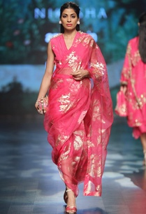 magenta-crepe-lycra-satin-organza-embroidered-dhoti-saree-with-overlap-blouse