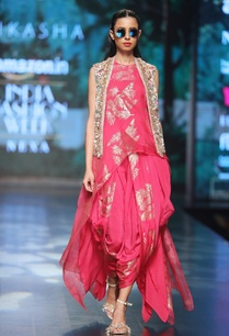 magenta-pure-dupion-organza-asymmetric-blouse-with-printed-cowl-dhoti-embroidered-jacket