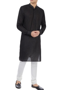 black-check-pattern-cotton-kurta
