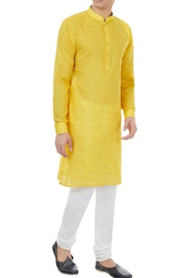 yellow-check-pattern-cotton-kurta