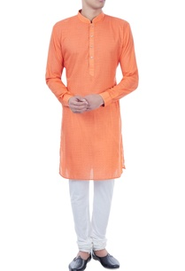 orange-check-pattern-cotton-kurta