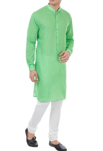 green-cotton-check-pattern-kurta