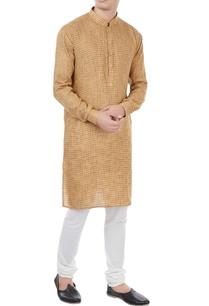 beige-houndstooth-pattern-classic-kurta