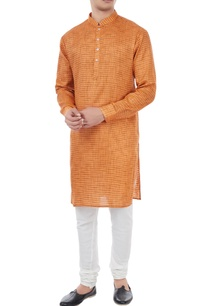 orange-cotton-houndstooth-pattern-kurta