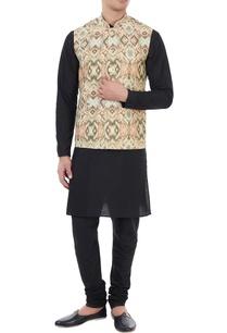 beige-ikat-printed-nehru-jacket