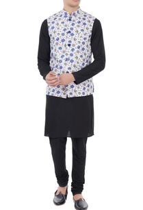 white-blue-printed-nehru-jacket