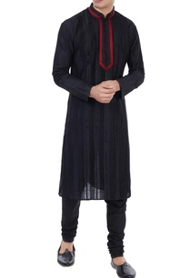 black-silk-thread-work-kurta-with-churidar