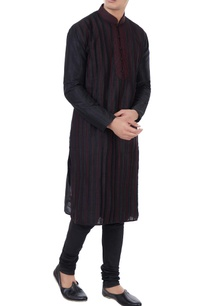 black-silk-thread-work-kurta-with-churidar