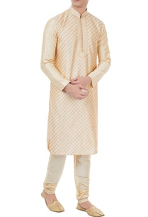 gold-silk-chequered-kurta-with-churidar