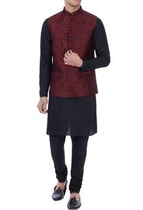 black-maroon-silk-brocade-bundi-with-kurta-churidar