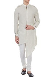 beige-linen-button-down-asymmetric-kurta