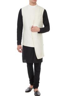 cream-raw-silk-asymmetric-turtleneck-collar-jacket