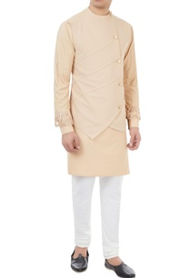 champagne-beige-kurta-with-attached-waistcoat