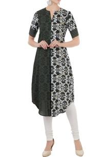 mehendi-green-white-hand-embellished-block-printed-kurta