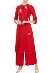 red-single-thread-embroidered-floral-kurta-with-palazzos