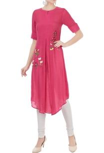 pink-linen-georgette-hand-embroidered-kurta