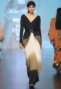 black-cream-olive-green-v-neck-silk-lycra-saree-gown