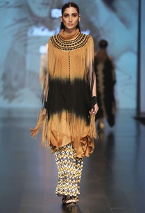 mustard-jersey-yellow-sleeveless-fringe-cape