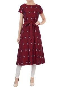 maroon-cotton-jamdani-ladybug-weave-tunic