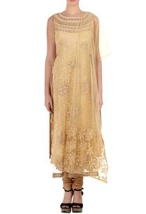 beige-net-embroidered-straight-kurta-set-with-churidar-dupatta