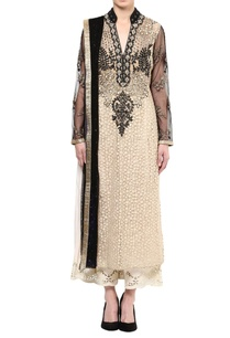 beige-black-net-woven-banarasi-fabric-embroidered-straigth-kurta-with-churidar-dupatta