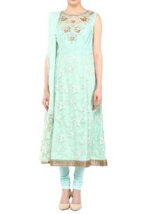 aqua-blue-net-hand-machine-embroidered-anarkali-kurta-with-churidar-dupatta