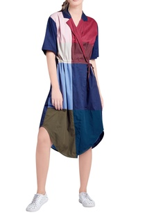 multicolored-panelled-wrap-style-dress