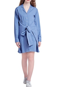 blue-button-down-knot-style-dress