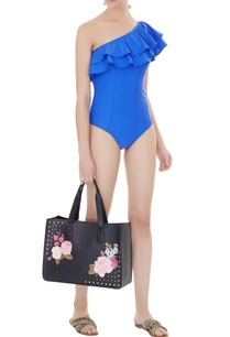 blue-polyamide-lycra-frilled-one-shoulder-monokini