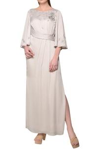 pearl-grey-thai-satin-floral-sequin-dress