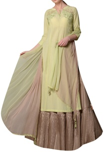 green-soyabean-fabric-kurta-with-silk-skirt-chiffon-tassel-dupatta
