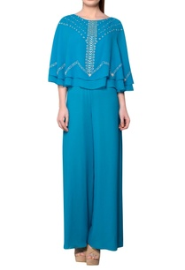 teal-blue-viscose-georgette-cape-jumpsuit