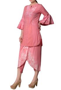 pink-cotton-dobby-ruffle-sleeve-blouse-dhoti-pants