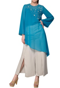 blue-asymmetric-embroidered-georgette-tunic