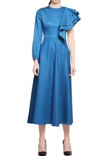 turquoise-cotton-satin-ruffled-one-sleeve-midi-dress