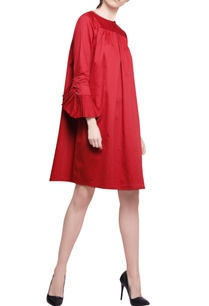 red-cotton-satin-pleated-trapeze-dress