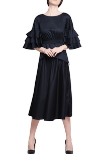 midnight-blue-blended-cotton-pleated-midi-dress-with-tiered-ruffled-sleeves