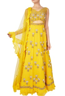 yellow-bead-embellished-anarkali-gown-with-stole