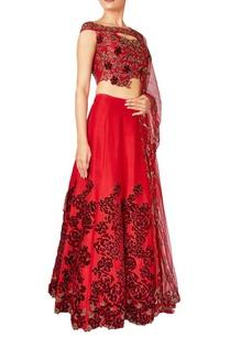 red-rose-raw-silk-net-embroidered-lehenga-set