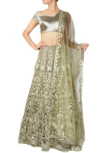 green-leather-patchwork-net-lehenga-set