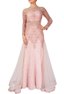 pink-suede-fishtail-gown