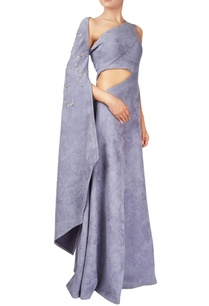 grey-one-shoulder-suede-structural-gown